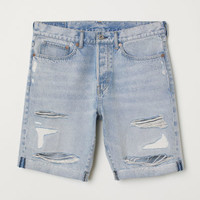Straight Fit Denim Shorts - from H&M