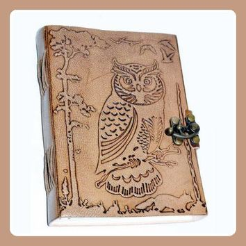 Owl in Jungle  Latched Leather Journal