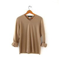 vintage cashmere sweater. camel brown pullover sweater. modern vneck sweater.