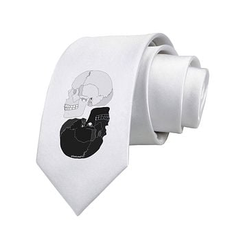 White And Black Inverted Skulls Printed White Necktie by TooLoud