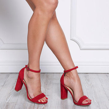 Red Velvet Ankle Strap Block Heels