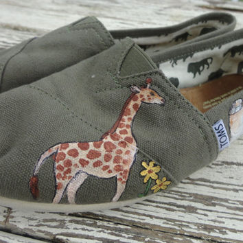Custom hand painted TOMS, safari life, gotta love my giraffes and elephants