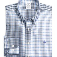 Men's Supima Cotton Slim Fit Non-Iron Blue Check Oxford Sport Shirt