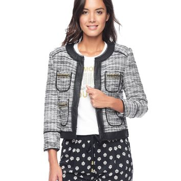 Pitch Black Marled Tweed Marled Tweed Jacket by Juicy Couture,