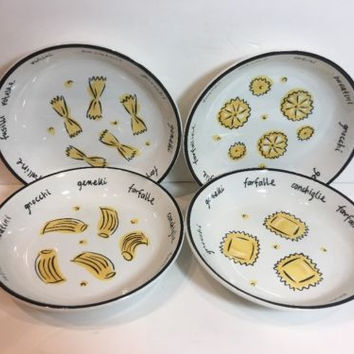Pottery Barn Italy Pasta/ Salad Bowls Set of 4 Assorted Pasta Patterns & Words
