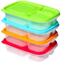 Premium Bento Lunch Box Containers (4 Pack) - 3 Compartment - Sunsella Buddy Boxes (Not Leakproof) - Multicolored Lids