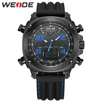 Luxury Sport Men's Watches Water Resistant Analog Digital Display Back Light Silicone Strap Watches Alarm