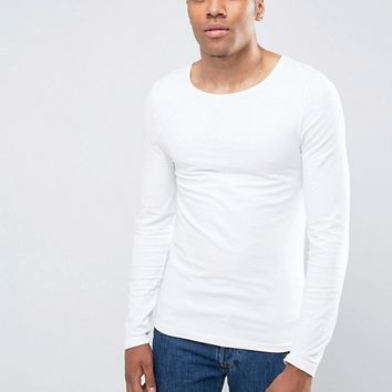 ASOS Extreme Muscle Fit Long Sleeve T-Shirt With Scoop Neck In White at asos.com