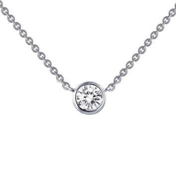 Lafonn Round Bezel Set Simulated Diamond Solitaire Necklace