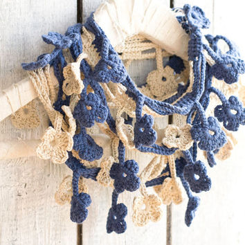 Jeans Blue and Natural White Flower Loop Scarf, Egyptian Cotton, Crochet Bohemian Accessories, Romantic Fashion