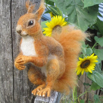 Red Squirrel needle felted animal made to order by by Ainigmati