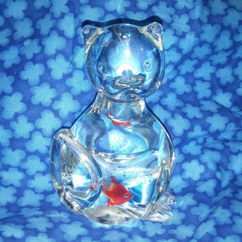 Adorable Murano Glass Art Glass Cat Figurine With Orange Goldfish in Belly Paper Weight Collectible