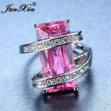 JUNXIN Big Geometric Female Ring Cute Princess Cut Pink Ring 2017 New Fashion White Gold Filled Jewelry Promise Engagement Ring