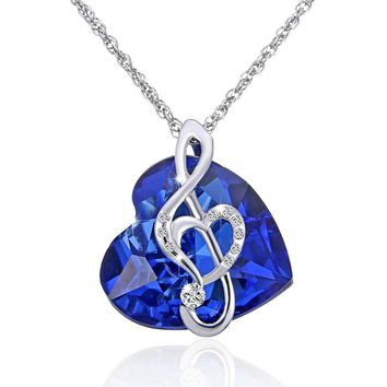 2018 new Fashion Music note necklace ocean Heart Pendant Blue crystal Jewelry Gift For Women wedding Love Gifts
