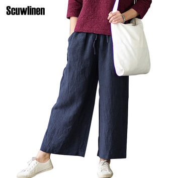 SCUWLINEN 2017 Women Pants Solid Elastic Waist 100% Linen Straight Trousers for Women Loose Casual All-match Trousers S189