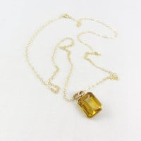 Vintage 10K Yellow Gold Citrine Pendant Necklace Mid Century November Birthstone Golden Yellow Gemstone Charm Fine Jewelry