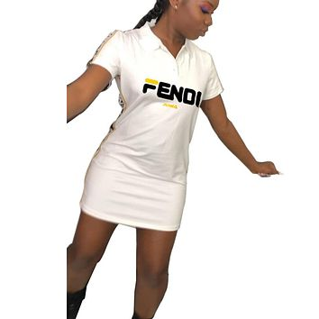 Fendi Fashion New Summer Letter Print String Mark Print Leisure Short Sleeve Dress Women White