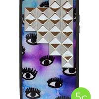 Eye On Purp Silver Studded Pyramid iPhone 5c Case