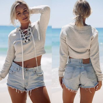 Cropped Lace Up Pullover Sweatshirt