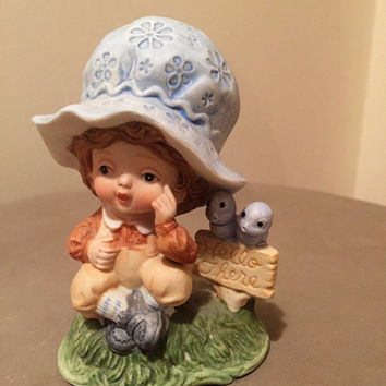 Vintage Ceramics Boy in Blue Bonnet Pondering - sign 'Hello There' / Vintage Pottery / Stamped Crown over an S