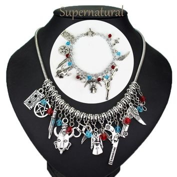 DIY Handmade Supernatural Evil Forces Protect Wings Pentagram Pistol Angel Sword Dagger Necklaces Bracelets Vintage Jewelry Sets