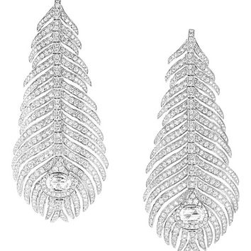 BOUCHERON Plume de Paon 18ct white-gold and diamond pendant earrings