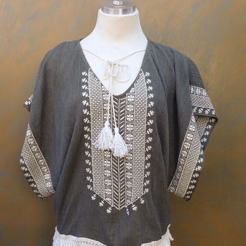 Tassle Embroidered Hippie Cut Blouse