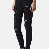 Women's Topshop 'Jamie' Distressed Skinny Jeans (Black)