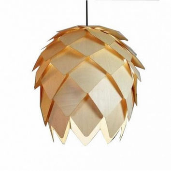 Nordic Vintage Countryside Wood Pine Cone Pendant Lamp Light
