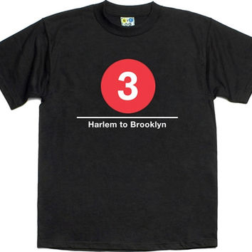 "3 Train T-shirt ""NYC SUBWAY LINE"""
