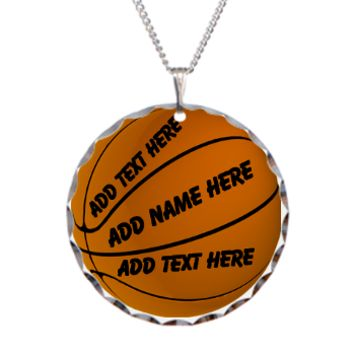Personalize Basketball Necklace Circle Charm