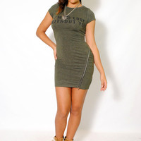 (aly) I'm so lost without you olive dress
