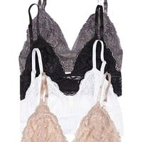 Anemone 2 Pack Junior's Full Lace Bralette with Hook Clasp,Small/Medium,4 Pack: Black/Beige/Charcoal/White