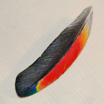 Hand Carved Amazon Macaw Feather Brooch- wood feather brooch gift for her hand carved bird brooch wood feather  macaw jewelry handmade gift