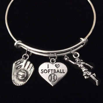 I Love Softball Expandable Charm Bracelet Silver Adjustable Bangle Sports Team Gift Softball Catcher Player