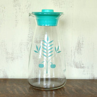Vintage Pyrex Glass Carafe, Turquoise Aqua Tree and Apple Design, Water Pitcher, 32 ounce
