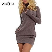 Women Long Sleeve Thumb Out Dress With Pockets Winter Clothes Dress Fall Women's Clothing Gray/Purple S-XL