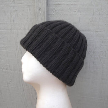 Chocolate Cashmere Beanie Hat, Watch Cap, Hand Knit, Earthy Dark Brown, Luxury, Teens Men Women