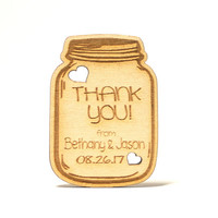 Wooden Country Rustic Mason Jar Wedding Favor Gift Tags, Thank You Card, Wedding Party Laser Engraved Favors