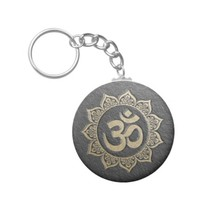 YOGA Meditation Instructor Black & Gold OM Mandala Keychain