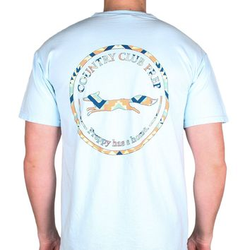 The Aztec Pattern Original Logo Tee Shirt in Chambray Blue by Country Club Prep