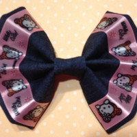 Girl's Blue Denim Fabric Hair Bow with Hello Kitty Ribbon