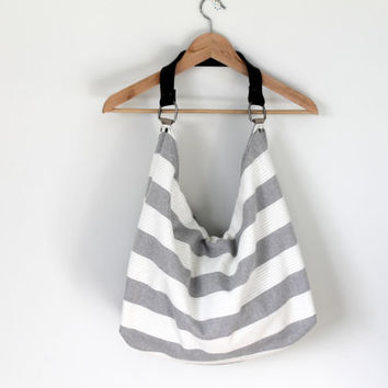 Gray and white striped large tote, slouch, cross body, shoulder bag