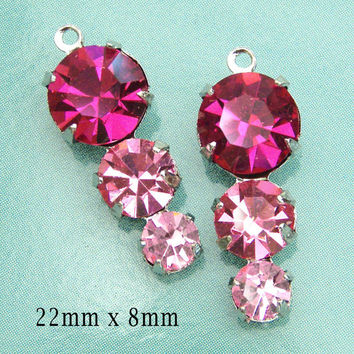 Fuschia, Rose, and Light Pink Glass Beads, Silver Settings, Color Choice, Triple Rhinestone Jewels, Glass Gems, 22mm x 8mm, One Pair