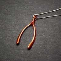 Good Luck Copper Wishbone on Sterling Silver Chain by modadimagno