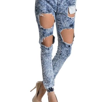 Women's Ripped Acid Wash Jogger Pants