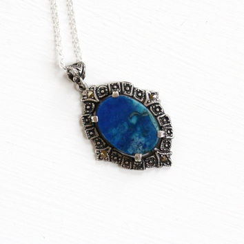 Vintage Art Deco Sterling Silver Blue Jasper Marcasite Necklace - 1930s Blue Gemstone Pendant Studded Embossed Filigree Statement Jewelry