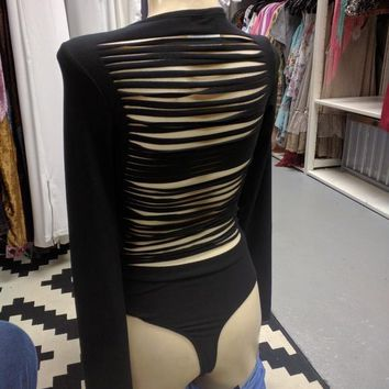 Black Long Sleeve Stripped Body Suit