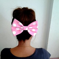 PINK POLKA DOT OVERSIZE BOW HAIR CLIP