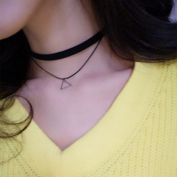 Stylish Shiny New Arrival Gift Jewelry Vintage Korean Simple Design Double-layered Set Necklace [10412391060]